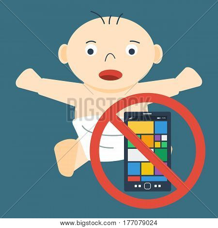 Vector concept children addiction on electronic devices. Small child baby with smart phone in prohibiting sign. Banner for parents, education and social programms in flat style
