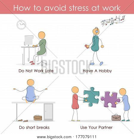 Vector infographic in hand drawing doodle style - How to avoid stress at work. Four icons steps.