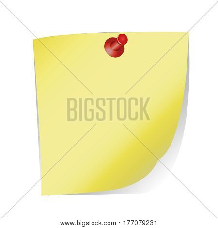 the sheet of paper with a curved edge and drawing pin