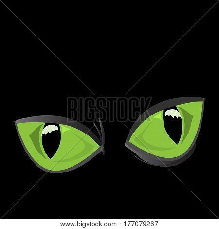 vector illustration of close-up huge shiny green cat eyes on a black background