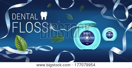 Dental floss ads. Vector 3d Illustration with tooth floss. Horizontal banner with product.