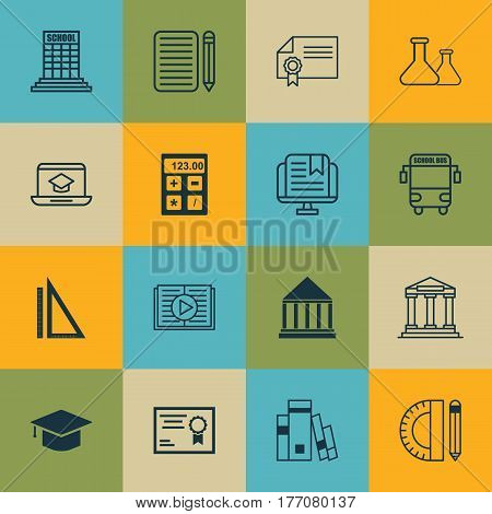 Set Of 16 Education Icons. Includes Academy, Taped Book, E-Study And Other Symbols. Beautiful Design Elements.