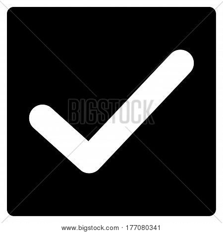 Valid Tick vector icon. Flat black symbol. Pictogram is isolated on a white background. Designed for web and software interfaces.