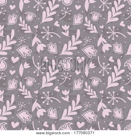 Seamless floral pattern with different elements pink color.