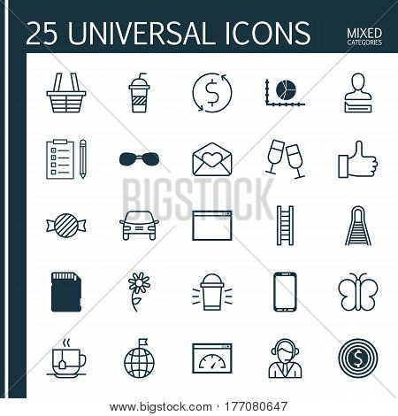 Set Of 25 Universal Editable Icons. Can Be Used For Web, Mobile And App Design. Includes Elements Such As Champagne Glasses, Memory Card, Business Goal And More.