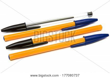 Multicolor disposable ballpoint pens isolated on white background.
