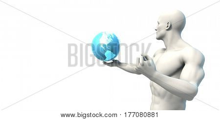 Science Research in a Global Community with Globalization 3D Illustration Render