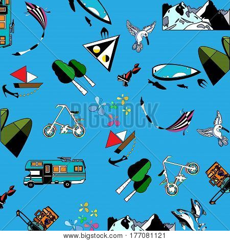 vector pattern with outlined summery vacation items blue background illustration