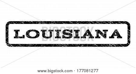 Louisiana watermark stamp. Text tag inside rounded rectangle frame with grunge design style. Rubber seal stamp with unclean texture. Vector black ink imprint on a white background.