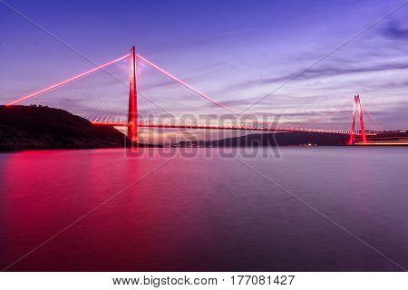 beautiful sunset on Istanbul new bosphorus bridge Yavuz Sultan Selim