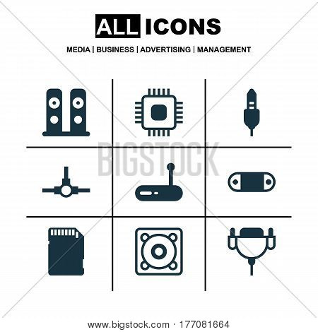 Set Of 9 Computer Hardware Icons. Includes Vga Cord, Radio Set, Memory Card And Other Symbols. Beautiful Design Elements.