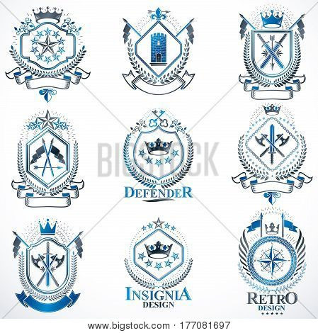 Heraldic Coat Of Arms Created With Vintage Vector Elements, Animals, Towers, Crowns And Stars. Class