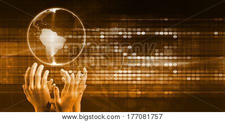 Global Distribution System with Hands Reaching for Globe 3D Illustration Render