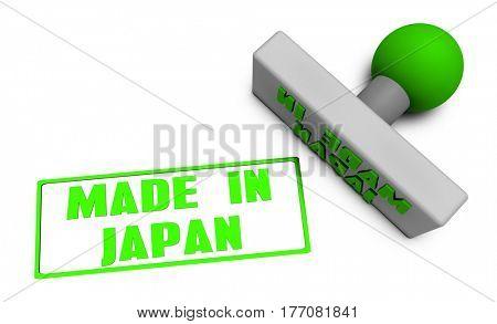 Made in Japan Stamp or Chop on Paper Concept in 3d 3D Illustration Render