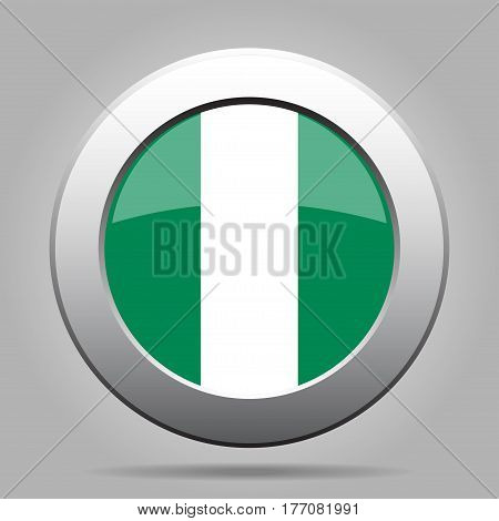 National flag of Nigeria. Shiny metal gray round button with shadow.