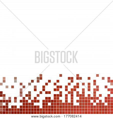abstract vector square pixel mosaic background - red