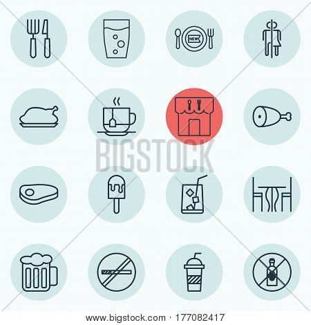 Set Of 16 Cafe Icons. Includes Restaurant, Lolly, Stop Smoke And Other Symbols. Beautiful Design Elements.