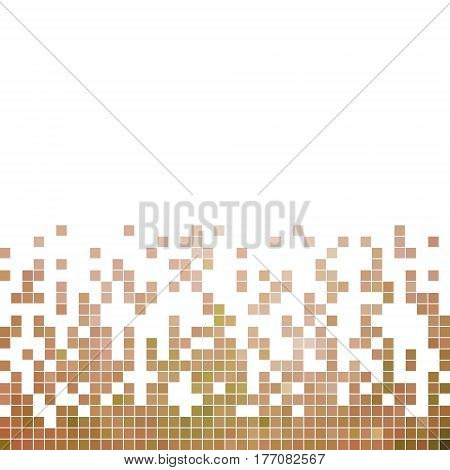 abstract vector square pixel mosaic background - beige