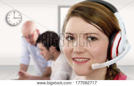 beautiful female support phone operator in headset