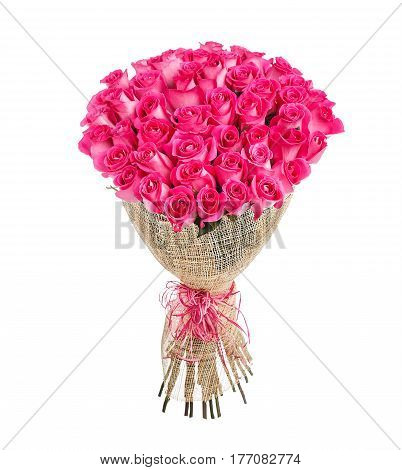 Flower bouquet of 50 pink roses isolated on white background.