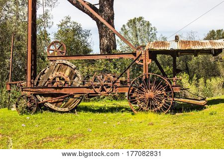 Vintage Rusty Drill Machinery Used For Mining Operations