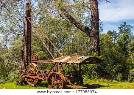 Vintage Rusty Iron Drill Used For Mining Operations