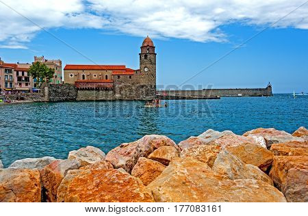 Collioure, France -August 3, 2014: Harbor in Collioure, most picturesque of the Côte Vermeille resorts