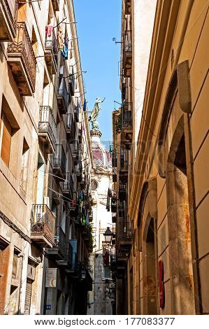 Barcelona, Spain - August 6, 2014: Back street in the Jewish quarter of Barcelona