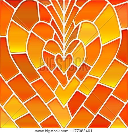 abstract vector stained-glass mosaic background - orange and yellow heart