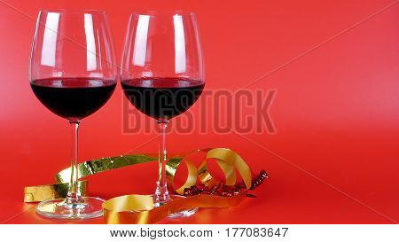 Romantic Celebration Day, With Red Wine. Glass of wine.