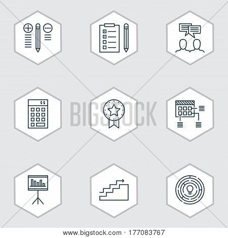 Set Of 9 Project Management Icons. Includes Reminder, Decision Making, Investment And Other Symbols. Beautiful Design Elements.