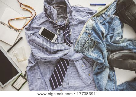 Flat Lay Wrinkle Striped Shirt, Jeans, Tablet, Shoes And Necktie, Hipster Man Untidy Man Concept.