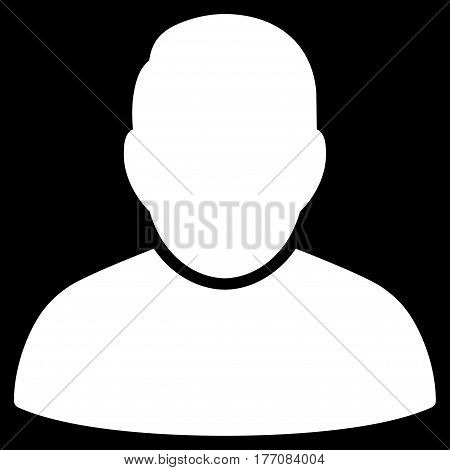 User vector icon. Flat white symbol. Pictogram is isolated on a black background. Designed for web and software interfaces.