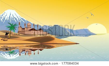 Landscape - the Arab fortress on the coast. Landscape. The sandy desert. Dunes. Mountains by the ocean. Oriental woman. Camel caravan in the desert. Vector illustration