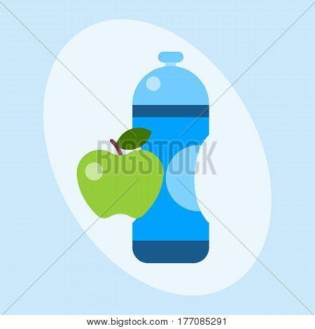 Water plastic sport bottle transparent mineral beverage blank refreshment natureclean liquid environment element vector illustration. Aqua fluid template sport healthy drink.