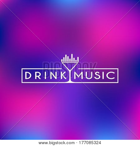Logo design template with a glass and equalizer in outline trendy style. Vector illustration.