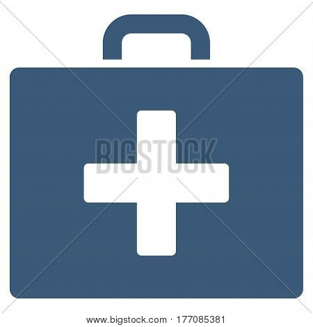 First Aid Bag vector icon. Flat blue symbol. Pictogram is isolated on a white background. Designed for web and software interfaces.