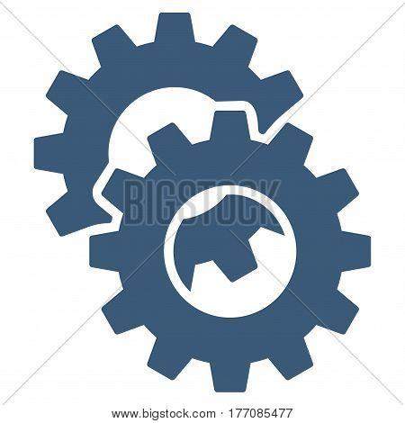 Gears vector icon. Flat blue symbol. Pictogram is isolated on a white background. Designed for web and software interfaces.