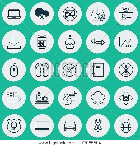 Set Of 25 Universal Editable Icons. Can Be Used For Web, Mobile And App Design. Includes Elements Such As Notebook, Briefcase Scanner, Doorway And More.