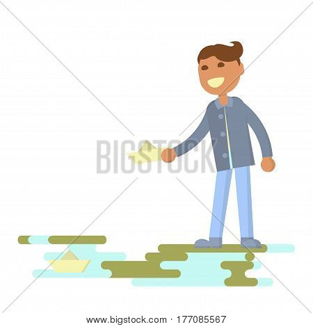 Illustration of kids playing outdoors in spring. Baby boy let go boats in the creek. Flat design of season. Vector illustration eps 10
