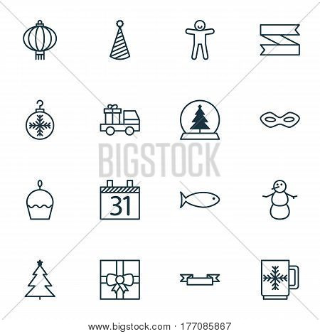 Set Of 16 Holiday Icons. Includes Tree Toy, Gift Surprise, Carnival Face And Other Symbols. Beautiful Design Elements.