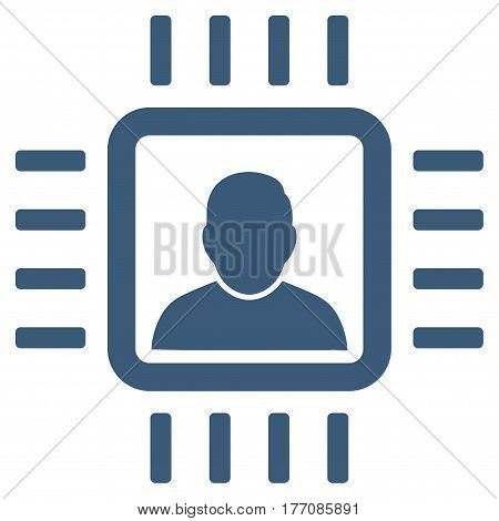 Neuro Processor vector icon. Flat blue symbol. Pictogram is isolated on a white background. Designed for web and software interfaces.