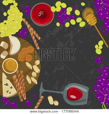 Grapes, honey, cheese with glass of wine on the grey background. Top view Vector illustration eps 10
