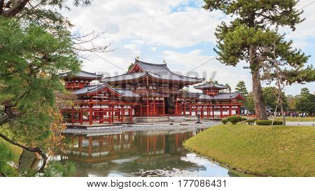 Beautiful Architecture Byodo-in Temple in autumn season at Kyoto Japan