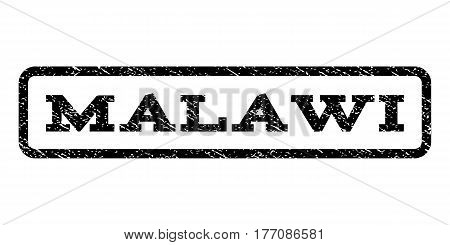 Malawi watermark stamp. Text caption inside rounded rectangle frame with grunge design style. Rubber seal stamp with dirty texture. Vector black ink imprint on a white background.