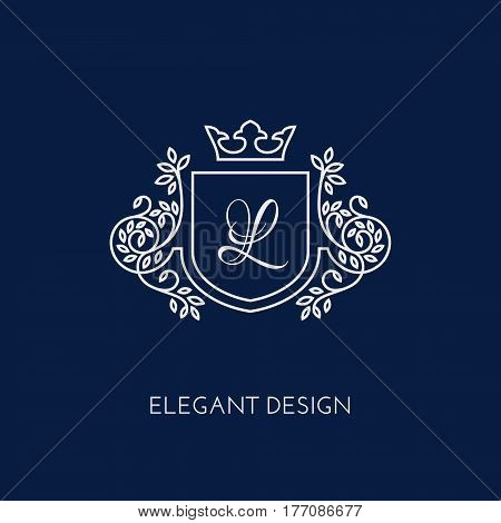 Simple and elegant monogram design template with letter L and crown. Vector illustration.