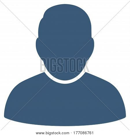 User vector icon. Flat blue symbol. Pictogram is isolated on a white background. Designed for web and software interfaces.