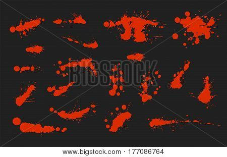 Vector set of ink splashes blots splatter collection grunge design element and art messy backdrop color dirty liquid shape spatter graphic silhouette illustration. Artistic dot dirt pattern spatter.
