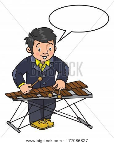 Funny musician or xylophone player. Profession series. Children vector illustration.