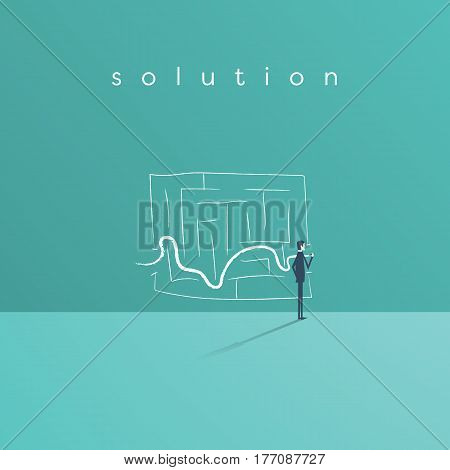 Business solution and success concept vector symbol with businessman drawing line through maze or labyrinth. Eps10 vector illustration.